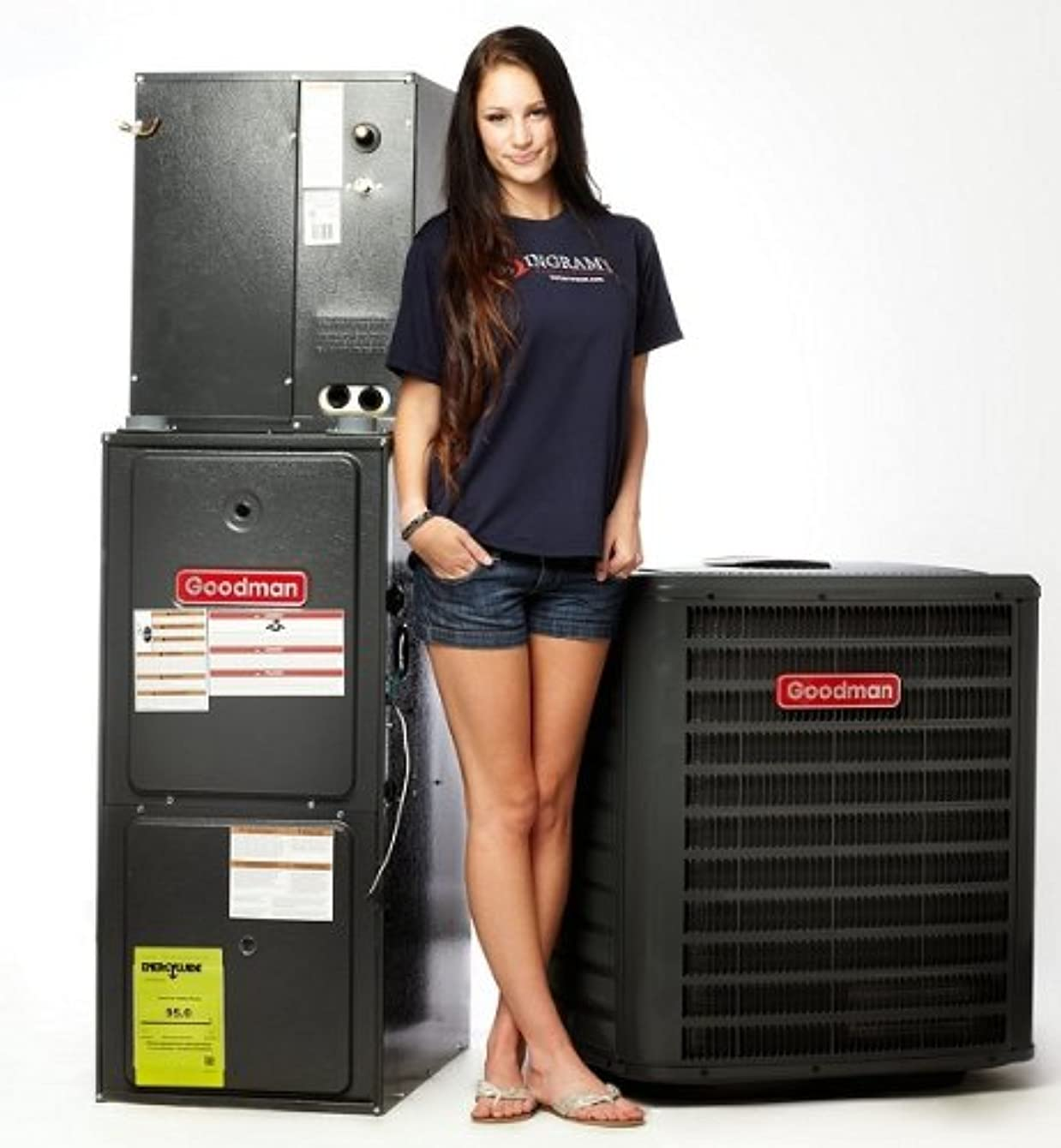 Goodman 4 Ton 14.5 SEER 100k BTU 96% AFUE 2 Stage Variable Speed Central Air Conditioner & Gas Split System - Downflow