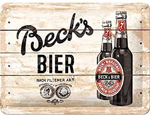 Nostalgic-Art Cartel de chapa retro Beck's – Bottles Wood – Idea de regalo para los aficionados a la cerveza, metálico, Diseño vintage, 15 x 20 cm