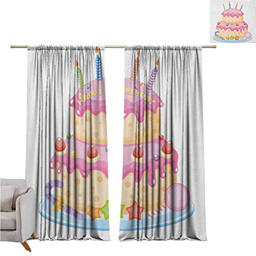 Kids Birthday and Sizes of Blackout curtainsPastel Colored Birthday Party Cake with Candles and Candies Celebration Image Set of Two Panels for Curtains W72 x L84 Inch Pale Pink