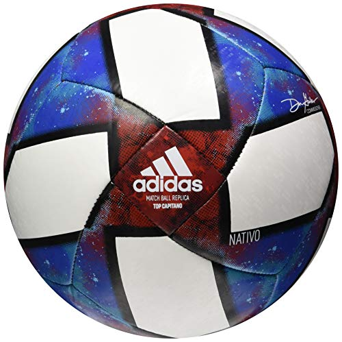 adidas MLS Top Capitano Soccer Ball, White/Black/Football Blue/Active Red, 5