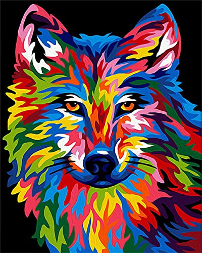 TLETEL Pintura Digital De Bricolaje Perro De Color Pintar por Numeros DIY Acrílica Pintura Kit para Adultos Y Niños Principiantes 40 X 50 Cm