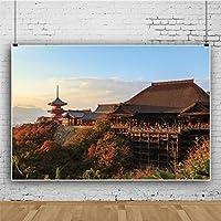 Qinunipoto ビニール 2.7x1.8m 清水寺 京都の日没の風景で 写真の背景 写真撮影の背景 背景布 背景幕 ポートレート スタジオ ブース小道具 子供やペットの写真撮影用 休暇 写真 赤いカエデの葉 山の風景 秋の風景