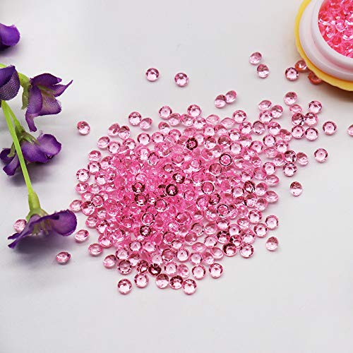BIT.FLY 4.2mm 10000pcs Acrylic Crystal Diamond Vase Fillers for Table Scatter Wedding Event Party Decoration, Arts & Crafts DIY Ice Rock Treasure Gems - Light Pink