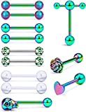 Prjndjw Jewelry, Rainbow, 12PCS, 5/8in(16mm)L. 14G Tongue Ring Surgical Stainless Steel Tongue Piercing Barbell Body Jewelry for Women