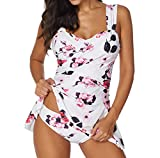 Lavany Womens High Waist Swimsuits Vintage Push Up Tankini Sets With Boy Shorts