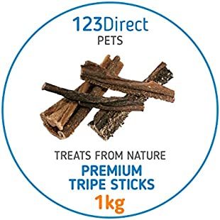 1KG Premium Tripe Sticks For Dogs | Dried Beef Tripe Sticks Chew Raw | Not Imported From China | Sourced Directly From EU | Quality Human Grade Tripe | No Added Preservatives, Flavour Enhancers Or Chemicals | Processed Under Strict Ethical Conditions In EU Unlike Other Products | Great For Dental Hygiene Reduces Plaque & Bad Breath | Ideal For Working Dogs & Puppies | High In Protein & Irresistible | Rewarding & Real Boredom Buster