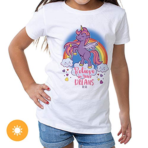 Del Sol Youth Girls Crew Tee - Believe, White T-Shirt - Changes from Pink & White to Vibrant Colors in The Sun - 100% Combed, Ring-Spun Cotton, Short Sleeve - Size YS