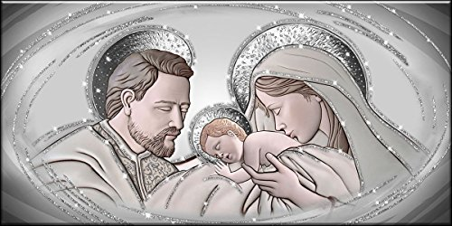 Lupia Quadro Sacra Famiglia Shiny con Glitter 62X115 cm The Kiss Ceramic Grey