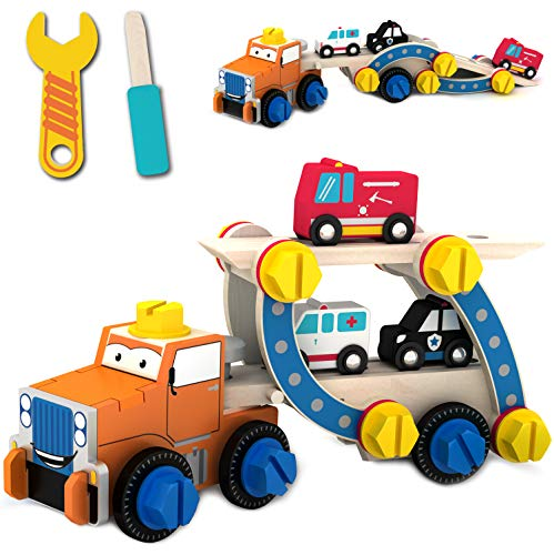 Tiny Land Juguete Desmontable para niño con Destornillador y Llave Inglesa - Remolque de Rescate más camión de Bomberos, Coche de policía y Ambulancia - Juguete Stem Ideal para 3 4 5 6 años