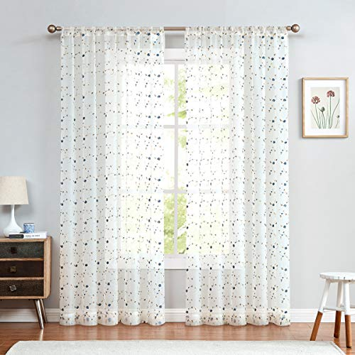 jinchan Sheer Curtains Floral Embroidered for Girls Room Blue Rose Buds Retro Voile Curtain Panels for Living Room Rod Pocket 2 Panels 95 inch