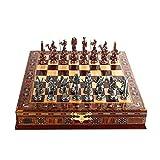 Ajedrez Egipto Faraón Antiguo Figuras de cobre Figuras de ajedrez metálico, piezas hechas a mano, tablero de ajedrez de madera sólido natural, almacenamiento dentro de King 9 cm Ajedrez internacional