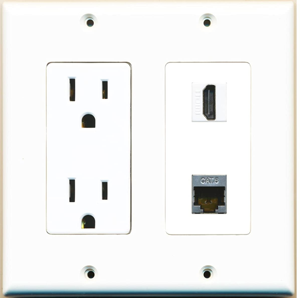 RiteAV - 15 Amp Power Outlet and 1 Port HDMI and 1 Port Shielded Cat6 Ethernet Decora Type Wall Plate White