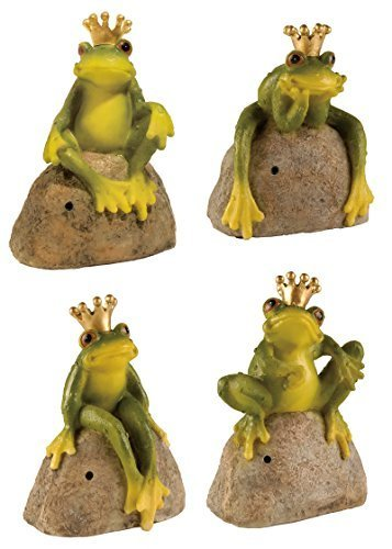 DRULINE Froschkönig Bewegungsmelder quakender Frosch Gartenfigur Märchen Frosch mit Sensor Gartendeko (4er-Set)