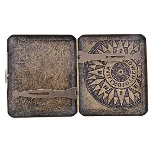 Baoblaze Metal Caja Vintage Almacenamiento de Cigarros Cajita con Escultura Retra Regalo Ideal para Hombres - O