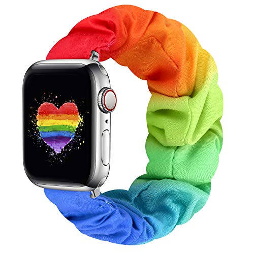 Compatible with Apple Watch Bands 38mm 40mm 42mm 44mm, Elastic Scrunchie Apple Watch Bands for Women, Stretchy iwatch Bands for Apple Watch Series 6 5 4 3 2 1 SE(Rainbow-38/40S)