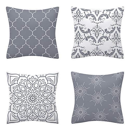 AMZQJD 4 Stück Kissenbezug Geometrische Muster Dekorative Kissenhülle Baumwolle Leinen Sie Kissenbezüge (JH-06, 40 x 40 cm)
