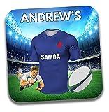 Cadeau personnalisé–Samoa Maillot de rugby sur le thème Dessous-de-verre à bière/mat–Cadeau d'anniversaire–Cadeau