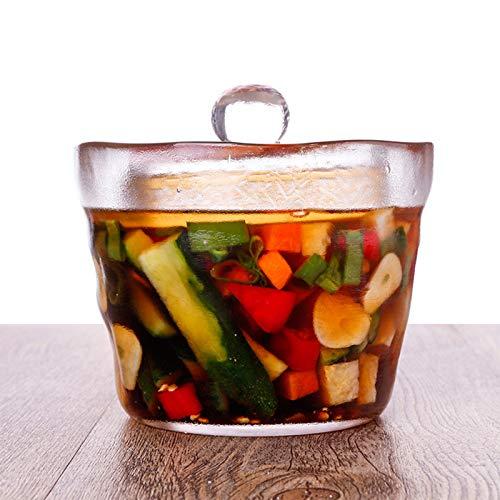 QWET Tarro De Kimchi De Estilo JaponéS, Tanque De FermentacióN con Tapa De Vidrio Espesado De Superficie Esmerilada, Adecuado para PreparacióN Y Almacenamiento De Alimentos,650ML