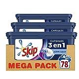 Skip Ultimate - Detersivo capsule Trio Active Clean x78, capsule 3 in 1, efficienza, cura delle fibre e freschezza a lunga durata, 78 lavaggi (set da 3 x 26 capsule)