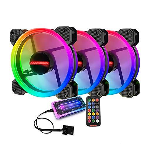 JDH Ventilador de computadora RGB de 120 mm, Ventilador Cuadrado silencioso de 12 V y 6 Pines con Controlador, para computadoras, Carcasa de Juegos, refrigeración, radiadores de CPU, 3 Paquetes