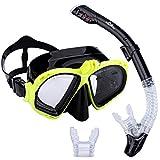 Supertrip Premium–Set de snorkel para adultos con 2boquillas y máscara de buceo con gafas de natación. Set de snorkel con soporte para cámara., amarillo