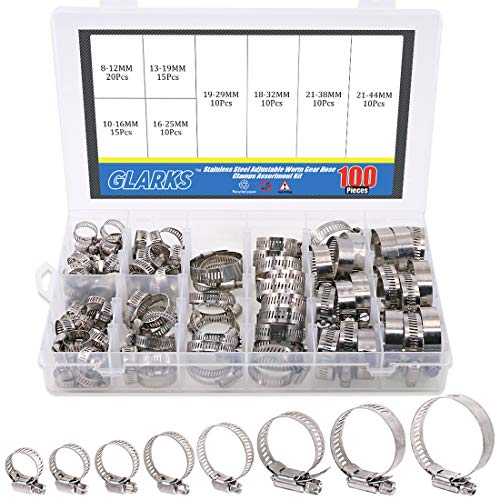 Glarks 100Pcs Adjustable 8-44mm Range 304 Stainless Steel Worm Gear Hose Clamps Assortment Kit, Fuel Line Clamp for Water Pipe, Plumbing, Automotive and Mechanical Application (Hose Clamp Kit)