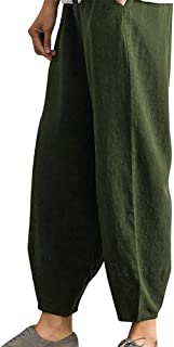 Yudesunyds カジュアル 衣料品 女性 ズボン - 綿 ハーレム ズボン ハーラン 高 腰 緩い フィット 麻 通気性のあります。 快適です アウトドア デート ギフト トリミング ズボン