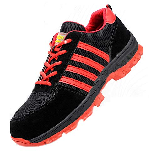 Shoe Veiligheid werkschoenen voor heren, zomer ademend vliegen geweven slijtvaste anti-piercing lichte stalen kop schoenen antislip werk trainingsschoenen, industriële bouwschoenen