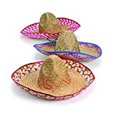 Fun Express (Adult) Embroidered Woven Straw Sombreros (Pack of 12) Cinco De Mayo Party Supplies