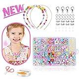 Zaloife Kits de Perles Enfants Bricolage Bracelet Perle Art & Fabrication de Bijoux de Fabrication de Perles 24 Types Art Créatif Perle DIY Cadeau Enfant pour Anniversaire Noël