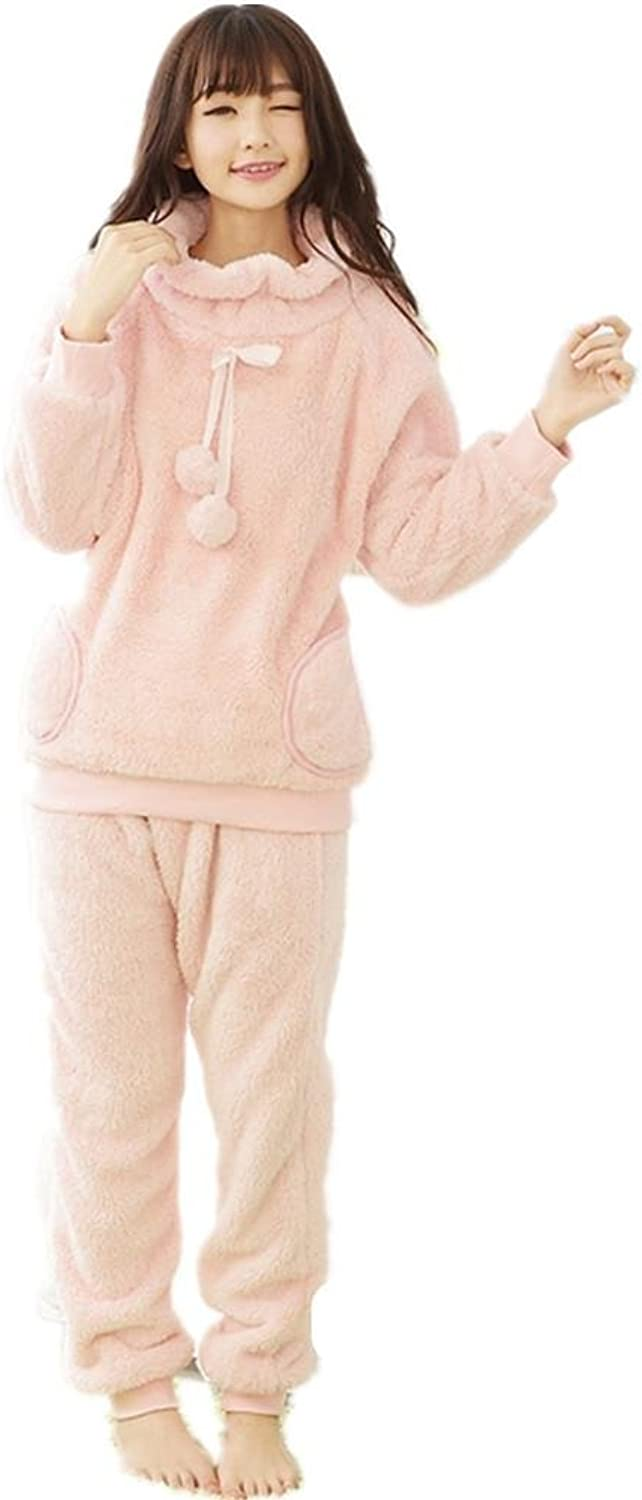 DMMSS Women 'S Autumn And Winter Thickening Sleepwear Set Flannel 2  Piece Home Pajamas Sets