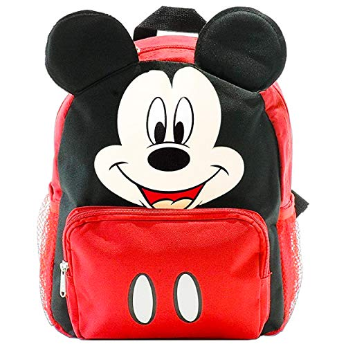 Mickey Mouse Backpack for Kids Toddlers ~ Deluxe 12' Mickey Mini Backpack with 3D Mickey Ears (Mickey School Supplies Bundle)