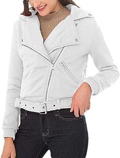 Macondoo Women's Long Sleeve Waistband Coat Zip Up Lapel Motorcycle Jacket