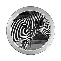 ZXWXNLA Classic Wall Clock Black and White Zebra Wall Clocks for Men 9.65 Inch Silver Quartz Frame Decor for Office/School/Kitchen/Living Room/Bedroom