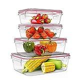 Home Fleek - Set de 4 Envases de Vidrio Rectangular para Alimentos | Recipientes Herméticos de Cristal Para La Cocina | Apto para Lavavajilla, Horno, Microondas, Congelador | Sin BPA (Rojo, Set de 4)