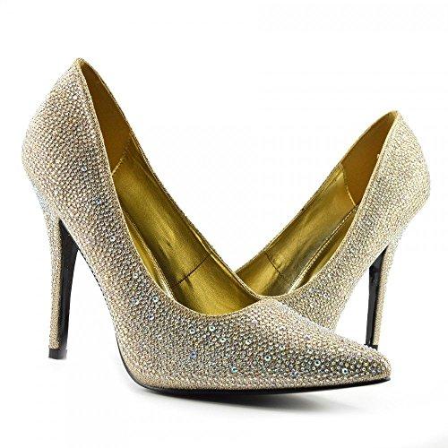 BS12924 Herren Damen Pumps mit hohem Absatz und Spitzen Zehenbereich, Gr. 41-46, - 924 Gold Glitter - Größe: 45 EU