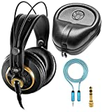 AKG K240 Studio Over-Ear Semi-Open Professional Headphones Bundle with Blucoil 6-FT Headphone...