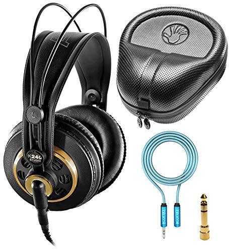 AKG K240 Studio Over-Ear-Kopfhörer-Set, halboffen, professionell, mit Blucoil Kopfhörer-Verlängerungskabel (3,5 mm) und HardBody Pro Kopfhörer-Etui