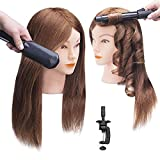 SOPHIRE 100% Real Hair Mannequin Head with 9 Tools and Clamp, Hairdressers' Practice Training Head and Cosmotology Doll Head for Hairstyling and Braid - Dark Brown