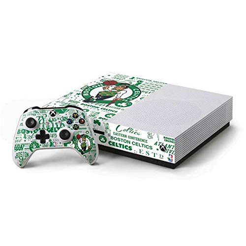 Skinit Decal Gaming Skin Compatible with Xbox One S Console and Controller Bundle - Officially Licensed NBA Boston Celtics Historic Blast Design