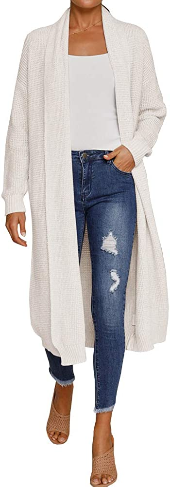 Saodimallsu Womens Open Front Duster Cardigan Boho Long Sleeve Slouchy Loose Draped Knit Sweaters Coats