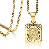 Hermah Gold Plated Square Capital Initial Letter L Charm Pendant Necklace for Men Women Box Steel Chain 22inch Link