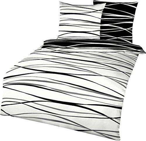 Kaeppel Wendebettwäsche Mako-Satin schwarz-Weiss Größe 135x200 cm (80x80 cm)