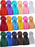 18 Pieces Silky Durags Long Tail Headwrap Durag Wide Strap Satin Durag Cap for Men and Women (Mixed Color)