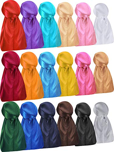 18 Pieces Silky Durags Long Tail Headwrap Durag Wide Strap Satin Durag Cap for Men and Women