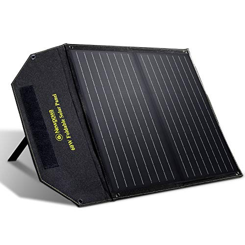 Newpowa 60W Foldable Solar Panel Charger High-Efficiency Mono Cells, for Portable Genarator&12V Batteries, Dual DC Ports Compatible with Newpowa/Jackery/Goal Zero Generators, for RV Boat Van Camping