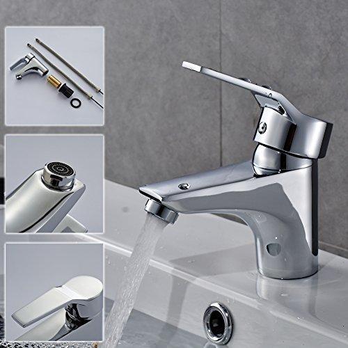 Auralum® Design Einhebel Wasserhahn Armatur Waschtischarmatur Einhandmischer für Badezimmer Waschbecken - 5