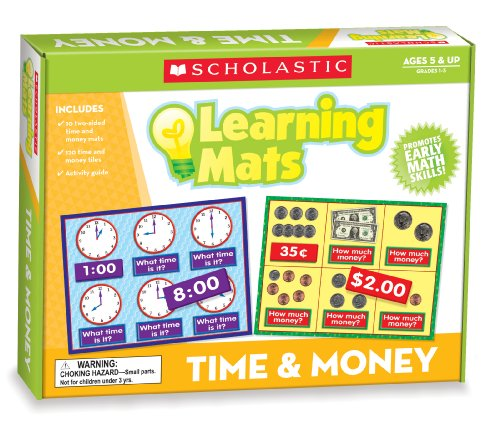 Scholastic Teacher's Friend Time & Money Learning Mats, Multiple Colors (TF7116)