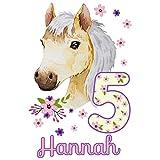 MissRompy Geburtstag Bügelbild Pferd (780) für dunkle und helle Stoffe Zahl groß Aufbügler Pony...