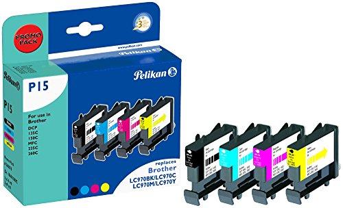 Pelikan P15 Druckerpatronen PromoPack (ersetzen Brother LC970VAL) schwarz, cyan, magenta, gelb